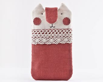 Linen iPhone 8 Plus Case, Red iPhone X Case, iPhone 7 Plus sleeve, Cat Lover Gift, Red iPhone 6 Plus case, iPhone 7 case, Galaxy S8 Case