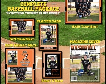 2017 Complete Baseball Template Package    Includes: Player Trading Card, Memory Mate, Magazine Cover, Group Team Shot  Photoshop Templates