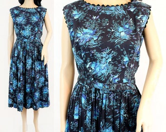 Medium Floral 1950s Fit and Flare Dress - 50s Fit and Flare Dress - Blue Floral 50s Dress Sleeveless Dress Belted Fit and Flare Pinup Dress