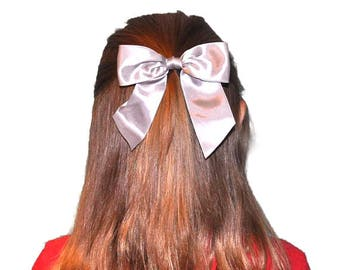 "Large Bow Silver, Satin Hair Bow, Girl Hair Bow, Kids Hair Bow, Silver Hair Clip, 4.5"" Bow Hair Clip"