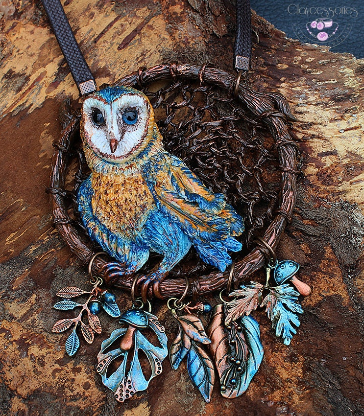 Owl necklace / Dream catcher necklace / Statement necklace / Bird necklace / Animal necklace / Owl jewellery / Polymer clay necklace /OOAK