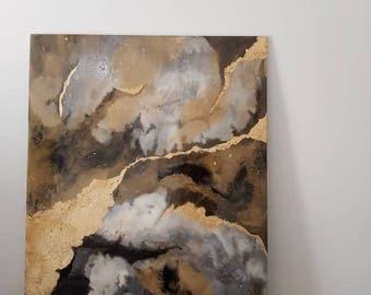 Abstract art, Resin art,  Original art,  Wall art, Art, Resin, Fluid art, Modern art, Gold leaf Art