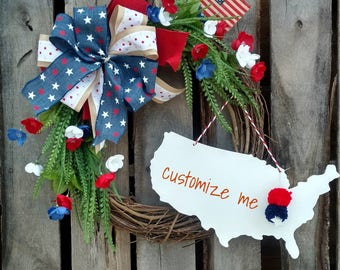4th of July Patriotic Red White & Blue Customizable Wreath