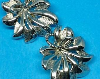 Monet flowers clip on earrings shiny and textured  silver plated