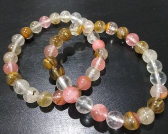 Mixed Cherry Quartz Bracelet-healing-gemstones- 8mm