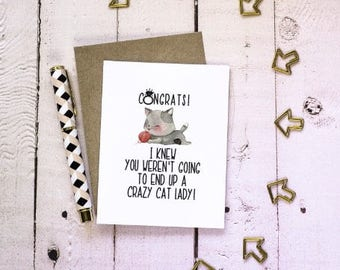 Crazy Cat Lady - Engagement Card - Congrats - Engaged
