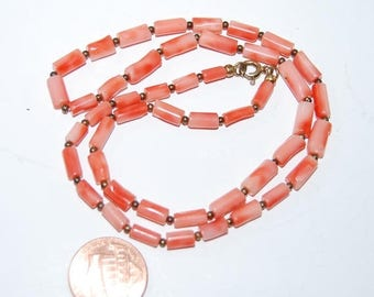 "SALE Vintage Angel Skin Salmon Coral  Tube Beads Necklace Beaded 18"" Long real"