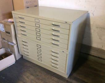 """Vintage 10 Drawer Flat File Blueprint Cabinet 41"""" w"""