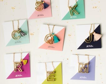 Brass geometric initial necklace , gift for her, bridesmaids necklace, monogram jewelry, personalized necklace, tassel necklace,