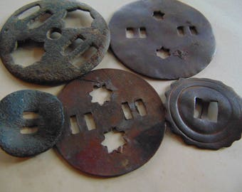 The Archaeological Collection, In The Old Style, Digging Findings Supplies Metal Art, Bronze Buckle.A set of 7 items.