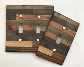 Rustic Wood Light Switch Plate Cover // brown green tan planks image 88 // SAME DAY SHIPPING**