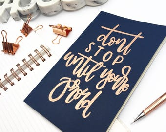 Motivational Journal, Rose Gold Notebook, Cute Journal