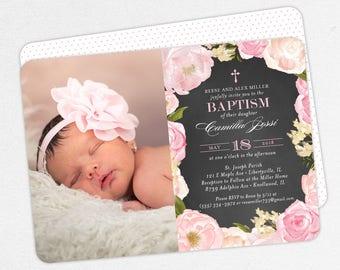 Photo Baptism Invitation, Christening Invitation, Girl Baptism Invitation, Printable, Watercolor Flowers, Chalkboard, PDF, Pink, Camilla