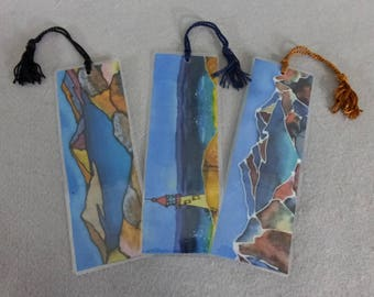 "Bookmarks (set of 3) ""Panorama Landscapes"", Hand Painted Silk Art Bookmarks"