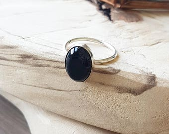 Onyx Stacking Ring, Onyx Ring, Sterling Silver, Black Stone, Black Ring, Simple Ring, Gemstone Ring, Organic Ring, Minimalist Ring