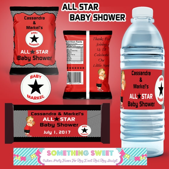 diy pdf file only all star themed printable party set chip bags food tents water bottles by. Black Bedroom Furniture Sets. Home Design Ideas