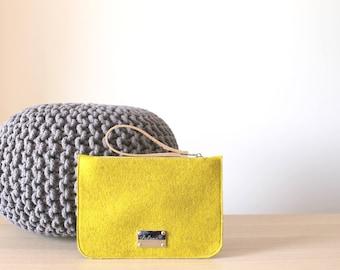 Large Felt Flat Pouch, Clutch Purse, Wristlet, Simple felt Clutch Bag