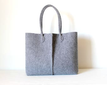 Grey Tote, Elegant and Casual Felt Bag from Italy, Tote Bag, Market Bag, Felt Tote, Everyday Tote, gift for her, stocking fillers.