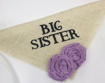 Big Sister Girl Dog Bandana Burlap with Lavender Flowers Dog Collar Pregnancy Announcement Newborn Photos Baby Birthday