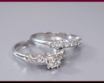 Vintage Retro 1940's Platinum Diamond Engagement Ring Wedding Ring Wedding Band Set - Er 630M