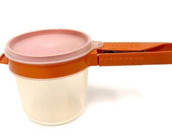 Tupperware Orange Flour Sifter 168-12 with Container and Lid 1980's