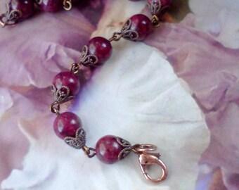 Maroon Bracelet, Mulberry Bracelet, Dark Magenta Bracelet, Burgundy Bracelet, Mulberry Gemstone Bracelet, Handmade Bracelet, Plum Bracelet