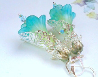 Hand Painted, Flower Earrings, Turquoise n Sage, Aqua and Mint, Silver Filigree Dangles, Bridal Earrings, Floral Jewelry, Vintage Style, #12
