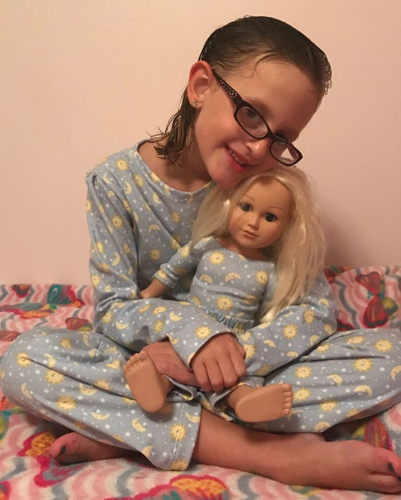 Girl and doll matching pajamas,7 prints,girls knit pajamas,girls pajamas,doll pajamas,matching sister pajamas,girls pajamas,banana pajamas