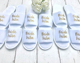 Bride Tribe Slippers | Bridesmaid slippers | Hen Party Slippers| Personalised Spa Slippers |Hen Do Slippers | Wedding Slippers |Spa Slippers