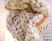 "ON SALE Chunky Knit  Blanket, 40""x 60"", Knit Merino Blanket, Super Chunky Knit, Giant Knit, Extreme Knitting, Super Chunky Knit Blanket, Bul"