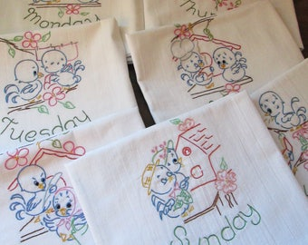 """7 Generous Day of the Week Hand Embroidered Kitchen Towels 33 X 38"""" Hemmed"""