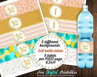 First Birthday Water Bottle Labels, Water Bottle Labels  Birthday, Water Bottle Labels Download, Water Bottle Labels Printable