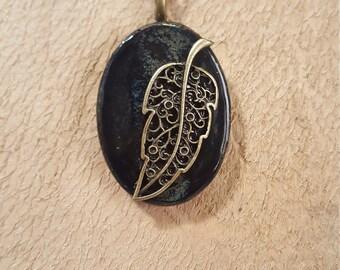 Black ceramic pendant necklace