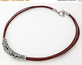 Clearance Sale Natural Brown Leather Necklace,  Statement Necklace,Leather necklace,Silver Necklace,