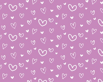 Hand drawn Hearts on Lilac - HTV or Permanent Glossy or Permanent Matte Vinyl