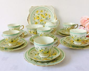 Tuscan Yellow & Green Floral Tea Set, Hand Painted, Staffordshire, 1930s.