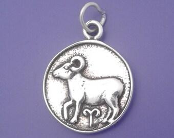 ARIES Zodiac Charm .925 Sterling Silver, Astrology Symbol  Pendant - lp3508