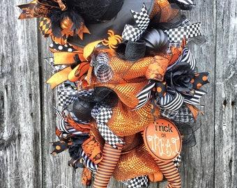 Halloween Swag, Witch Wreath, Halloween Door Swag, Front Door Wreath, Halloween Decor, Fall Wreath, Halloween Wreath, Whimsical Wreath