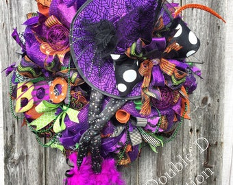 Witch Wreath, Halloween Witch Wreath, Halloween Wreath, Witch Decor, Halloween Decor, Witch Wreath With Legs, Fall Decor