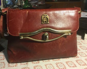 Vintage Etienne Aigner handbag oxblood leather sixties seventies purse brass