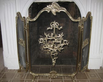 Vintage Tri Fold French Style Brass Aviary Love Bird Fireplace Screen...