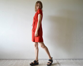 vintage JUS D'ORANGE red wrap mini dress with lace up ribbon tie front and shoulder pads medium size