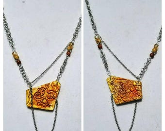 Reversible Natural Clay Statement Necklace - Yellowstone