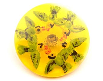 36mm Czech Vintage intaglio molded hand painted golden yellow swallow birds art glass button 2743-219