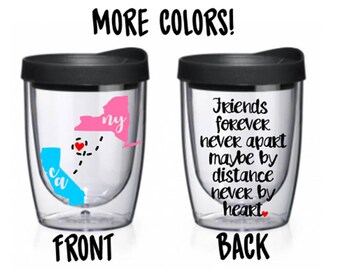 Friends Forever Sister Long Distance States Acrylic Travel Tumbler