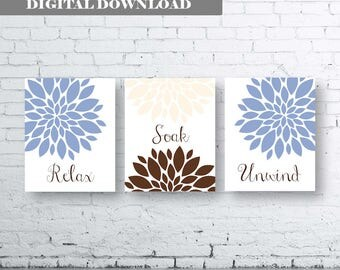 Bathroom Print Art-Relax Soak Unwind- Blue Brown Art- Blue Brown Flower Bathroom. Chocolate and Blue Floral Wall Art. Blue Chocolate Floral