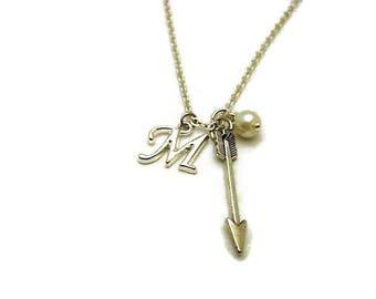 Silver Arrow Necklace Initials  Arrow Jewelry Glass Pearl Birthstone Personalized Birthstone Necklace Archery Necklace Archey Jewelry