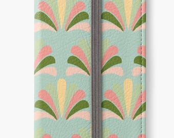 Folio Wallet Case for iPhone 8 Plus, iPhone 8, iPhone 7, iPhone 6 Plus, iPhone SE, iPhone 6, iPhone 5s - Art Deco Palm Pattern