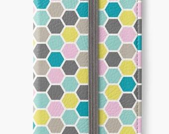 Folio Wallet Case for iPhone 8 Plus, iPhone 8, iPhone 7, iPhone 6 Plus, iPhone SE, iPhone 6, iPhone 5s - Colourful Hexagram Design Case