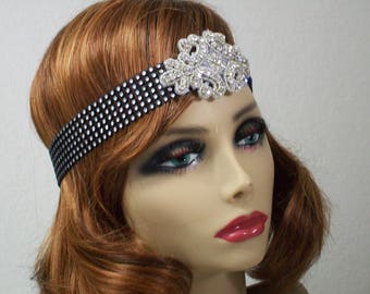 1920s headpiece, Flapper headpiece, 1920s headband, Flapper headband, Gatsby headband, Rhinestone headband, 1920s hair accessory, 1920s
